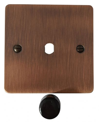 G&H FAC11-PK Flat Plate Antique Copper 1 Gang Dimmer Plate Only inc Dimmer Knobs